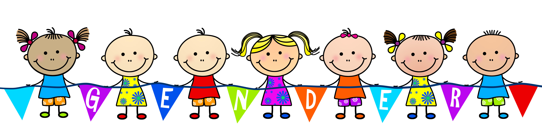 Children holding gender flag